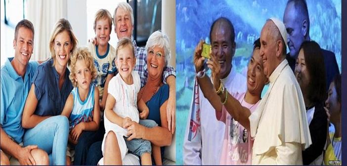 Keterangan foto: Selfie Paus Fransiskus dgn Orang Muda Asia; Komunikasi dalam Keluarga, ilustrasi dari www.diocesisorrentocmare.it